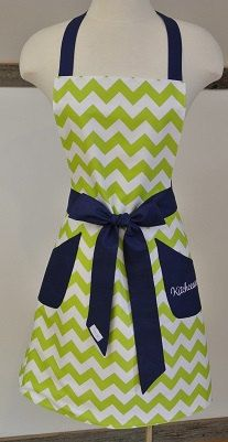 Personalized Lime Chevron with Navy Trim Retro Adult by LizzysBiz