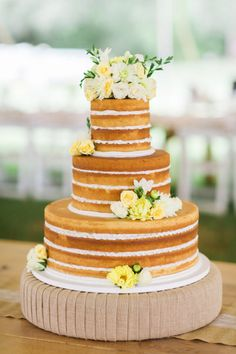 One of the prettiest naked cakes we've seen: http://www.stylemepretty.com/texas-weddings/2015/02/24/rustic-chic-farm-pasture-wedding/   Photography: Korie Lynn - http://korielynn.com/