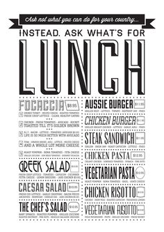 Chinchilla Coffee House— more fun type on the lunch menu Restaurant Identity, Restaurant Menu Design, Cafe Restaurant, Joe Coffee, Coffee Menu, Coffee Shop, Menu Layout, Menu Boards, Whats For Lunch