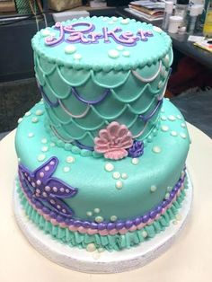 The Best Ideas for Little Mermaid Birthday Cake .The Best Ideas for Little Mermaid Birthday Cake Little Mermaid Birthday Cake, Little Mermaid Parties, Baby Birthday, The Little Mermaid, Birthday Ideas, Mermaid Birthday Party Ideas, Little Mermaids, 3 Tier Birthday Cake, Mermaid Birthday Decorations