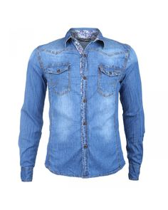 Denim overhemd nu met een scherpe korting op Itaffa.nl Denim Button Up, Button Up Shirts, Denim Look, Tops, Fashion, Moda, Fasion, Trendy Fashion, La Mode