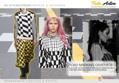 FW 2018-19 Prints & Patterns Directions by 5forecaStore: road marking graphics, sub-urban scenario, black & white layouts, blocking color,road signs references, grids and crossing blocks.