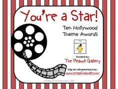 Roll out the red carpet as you present these fun awards with a Hollywood theme! Ten different colorful awards are included. Please download the pre...