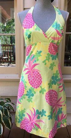 Vintage 90s Lilly Pulitzer Pink Pineapple Print Halter Top Dress Size 6 #LillyPulitzer #HalterBeachDressEmpireWaistSundressTeaDress #SummerBeach
