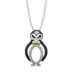Oooooh how cute 89 ct tw swarovski crystal penguin necklace in diamond accent sterling silver 18k gold over silver penguin pendant necklace mozeypictures Images