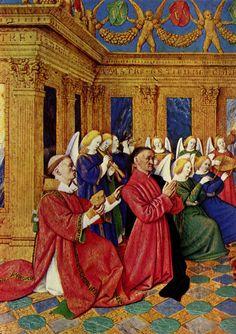 Libro d'ore di Etienne Chevalier (Etienne con Santo Stefano) -Jean Fouquet - 1452-1460 -miniatura