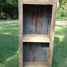 Barn Wood Crafts | Barn wood and old tin shelf. | crafts