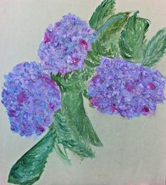 """Painted Flowers Entitled Lilacs, the quotation is by Thomas Stearns Eliot.  It is """"April is the cruelest month, breeding Lilacs out of the dead land, mixing Memory and desire, stirring Dull roots with spring rain. Winter kept us warm, covering Earth in a forgetful snow, feeding A little life with dried tubers.""""...Michela"""