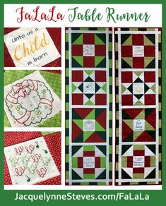 FaLaLa Holiday Table Runner - Includes options for Christmas (religious) or Holiday embroidery patterns – Jacquelynne Steves Embroidery Patterns, Quilt Patterns, Christmas Words, Winter Quilts, Sampler Quilts, Christmas Sewing, Quilted Wall Hangings, Holiday Tables, Quilting Tutorials
