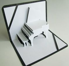 (GRAND PIANO 3D Pop Up Greeting Card) Amazing! -KML