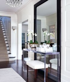 Clean.  Mirror to the floor.  Lucite console.