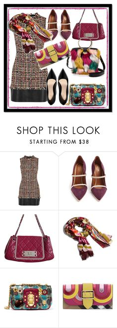 """""""Basic Brown Tweed Dress With Black Leather Trim"""" by kareng-357 ❤ liked on Polyvore featuring Alexander McQueen, Malone Souliers, Chanel, Vera Bradley, Dolce&Gabbana, Burberry and Milly"""