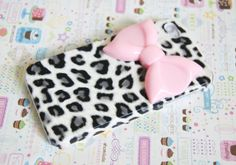 Grey Leopard Cheetah Print with Large Pink Bow Iphone 4 4s Cell Phone Case. $14.75, via Etsy.