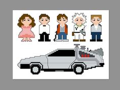 Back to the Future Pixel People Character Cross by CheekySharkLabs, $6.50