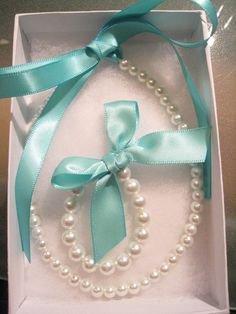 Tiffany Blue Pearl Necklace and Bracelet Set