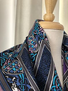 Beckford Silk Ltd vintage Scarf hand painted in Celtic Design for Times Past , made in England Vintage Home Accessories, Accessories Shop, Scarf Design, Celtic Designs, Vintage Scarf, Purple, Blue, Overalls, Hand Painted