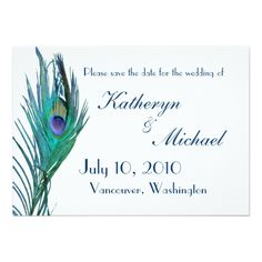 Peacock Wedding Save the Date Cards Peacock Save the Date Announcement
