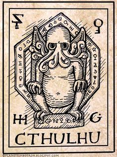 Cult of Cthulu. Runes in the border. Also, this version of Cthulu looks like Dr. Zoidberg.