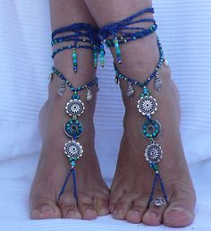 AQUARIUM MANDALA barefoot SANDALS foot jewelry hippie sandals toe ring anklet beaded crochet barefoot tribal sandal festival