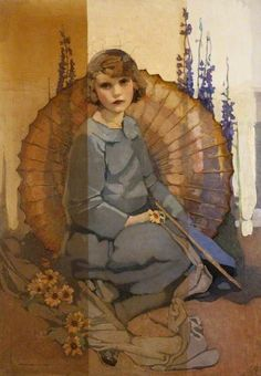 Norah Neilson Gray (British, 1882-1931). Portrait of a Girl in Blue. c. 1920-25. Oil on canvas.