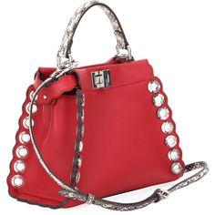 Fendi Peekaboo Mini Leather Satchel Bag, Red (6 494 825 LBP) ❤ liked on Polyvore featuring bags, handbags, satchel handbags, red leather purse, leather purses, genuine leather handbags and satchel purses