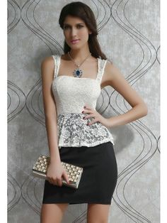 A Stylish White Lace Top Black Peplum Dress With Key-hole back Formal Casual Black Lace Tops, Black Laces, White Lace, Sexy Dresses, Fashion Dresses, Sleeveless Dresses, Lace Dresses, Dress Lace, Cute Black Dress