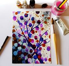 Art Abstrait Arbre Peinture  : Dessins par celine-artpassion