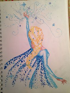 Pretty fanart of Elsa. This technique of dotting is called stippling, where you can sketch out the basic guidelines lightly in pencil then dot over in ink.