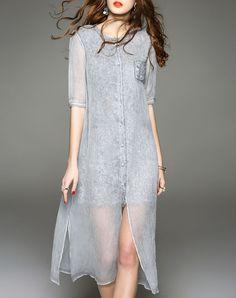 Gray 1/2 Sleeve Single Breasted Midi Dress with Slit, Gray, D.Fanni | VIPme
