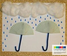 "If your child loves drawing how about combining craft with it too. Here's a ""do it yourself"" painting of the monsoon cleverly brought to life using some cotton and paper."