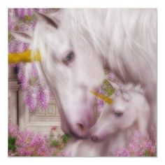 Unicorn Mother and her Foal Print by Fantasy_Gifts