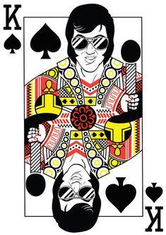 Elvis Presley Playing Card illustration Art Print