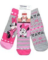 Girls Minnie Mouse socks Pack of 3 sizes 3-5.5 (19-22) 6-8.5 (23-26) and 9-12 (27-30) (9-12 (27-30))