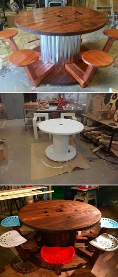 Round patio table diy wire spool 43 ideas for 2019 Wooden Spool Projects, Wooden Spool Tables, Cable Spool Tables, Wooden Cable Spools, Spool Crafts, Wood Spool, Cable Spool Ideas, Electrical Spools, Ideas