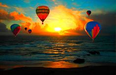hot air balloons on the ocean   Hot Air Balloons Ocean Sunset Photograph