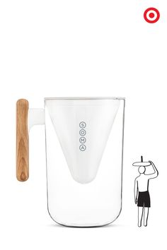Hydrate the best way with the Soma water pitcher. It holds 10-cups of crisp, refreshing filtered water. It's easy-to-fill and features Soma's unique filter made of coconut shell carbon and plant-based casing that removes chlorine and improves taste. How refreshing. We'll drink to that.