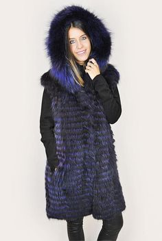 Purple Raccoon fur Gilet