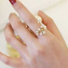 How nice Cute Snowflake Tree Leaves Branches Flower Women Open Rings ! I like it ! I want to get it ASAP!