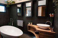 Elegance Antracite 450 x 900 an Italian semi polished porcelain is stunning in this award winning bathroom - ADN BUILDERS