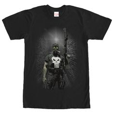 As a former Marine, Frank Castle has Special Forces training on the Marvel Punisher Gas Mask Black T-Shirt. The Punisher is portrayed wearing a gas mask, with the white skull emblem on his shirt, on this black Punisher shirt.