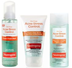 Neutrogena Oil-free acne stress control. Includes scrub, wash and toner