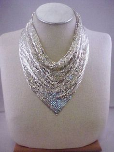 Vtg 1970s Whiting & Davis Scarf Mesh Bib Silver Tone Necklace Disco Era! #WhitingDavis #Bib
