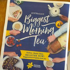 Timely reminder - must register for #BiggestMorningTea to help the fight against cancer. Coming up on Thurs 27 May soon. Onya Cancer Council. Great event.