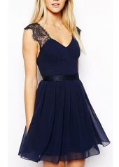 Dark Blue Open Back Chiffon Skater Dress with Lace