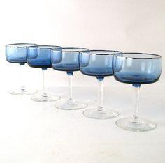 vintage glassware cobalt blue stemware set of 5 by RecycleBuyVintage, $22.00