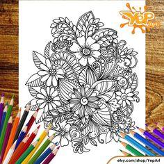 Wonderful FLOWER Adult Coloring Page Coloring Book Digital
