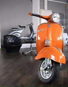 """The Vespa is a line of scooters patented on April 1946 by the company Piaggio & Co, S. The name Vespa, which means """"wasp"""" in Italian, was chosen by Enrico Piaggio. Vespa Ape, Scooters Vespa, Motos Vespa, Piaggio Vespa, Scooter Bike, Lambretta Scooter, Scooter Garage, Retro Scooter, Motor Scooters"""