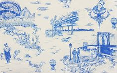 Usually, wallpaper with a toile print features classic pastoral scenes depicting musicians playing instruments like the flute, a couple picnicking, or a country home with an elegant garden, but together with Flavor Paper, Mike D of the Beastie Boys has put a modern twist on traditional toile