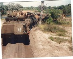 Border war. South African Infantry Combat Vehicles on route. It looks like they are near a place called Mapupa in Angola