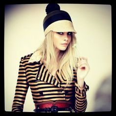 Cara Delevingne backstage at the Burberry Spring/Summer 2012 Campaign shoot